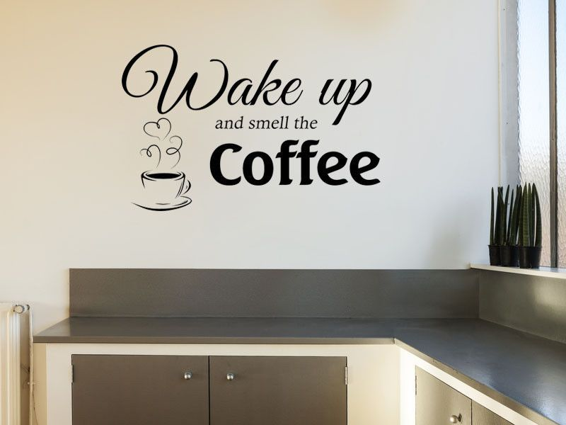 smell the coffee wall art quote wall sticker pvc decal modern transfer. Black Bedroom Furniture Sets. Home Design Ideas