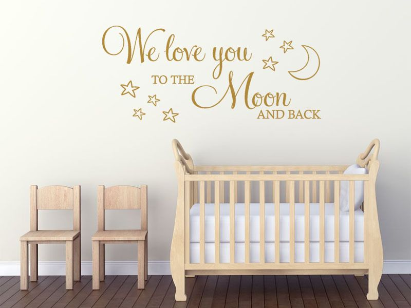 I Love You To The Moon And Back Wall Art childs wall quote we love you to the moon and back wall art