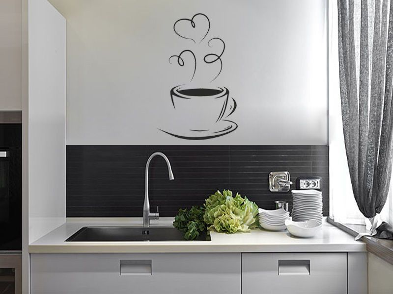 Wall Art Stickers For The Kitchen : Coffee cup silhouette kitchen wall sticker modern decal