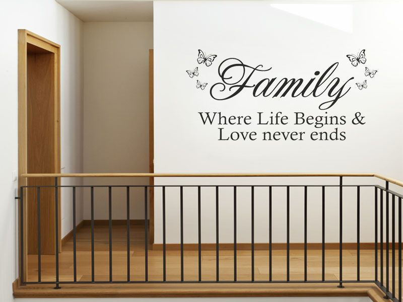 Vinyl Wall Art Part - 45: Family Where Life Begins U0026 Love Never Wall Art Sticker Quote - Vinyl Wall  Decal