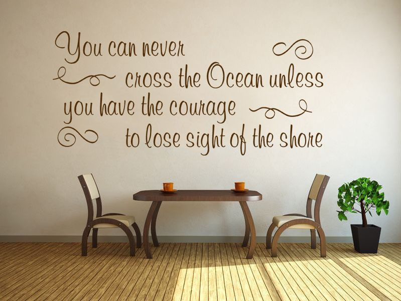 Inspirational wall quote cross the ocean vinyl sticker for Mural inspiration