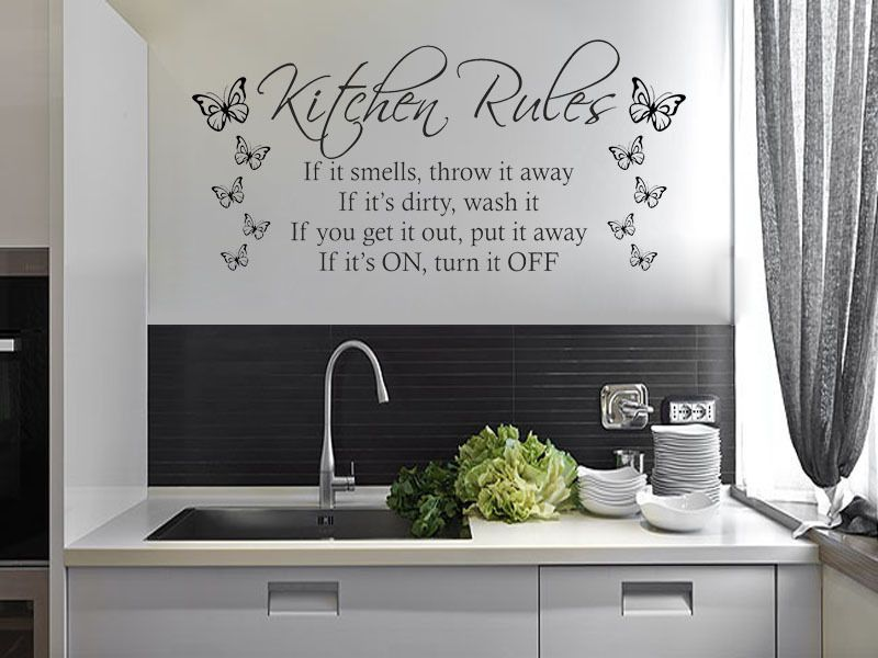 Kitchen Rules With Butterflies Modern Wall Art Quote Vinyl Sticker Decal