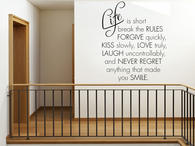 Life Is Short Break The Rules   Wall Art Quote, Modern Vinyl Wall Sticker, Part 60