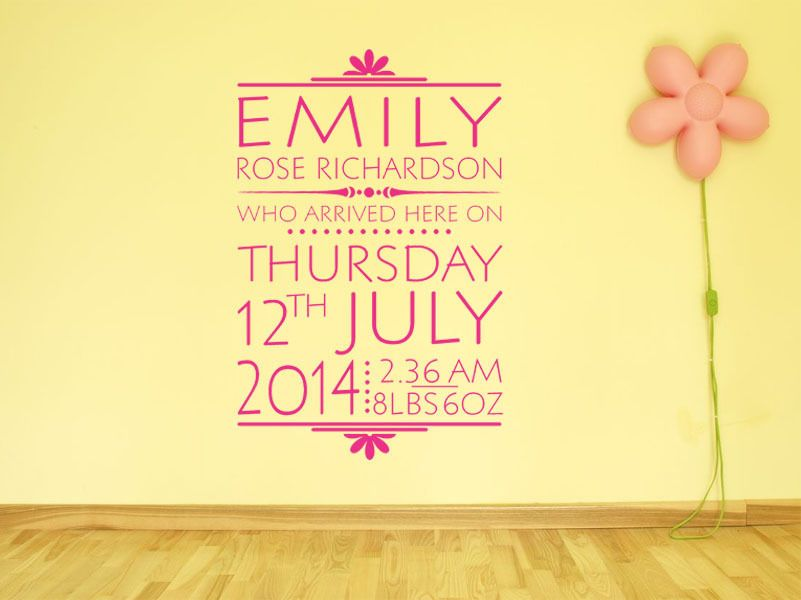 PERSONALISED Date Of Birth Nursery Newborn Wall Sticker Decal Modern ...