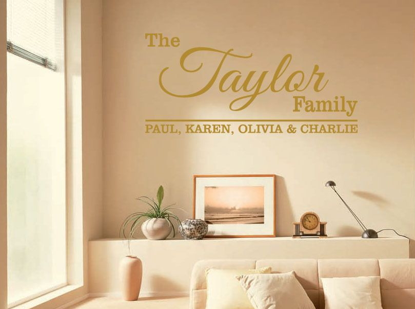 Personalised Family Wall Quote With All Names Wall Art Sticker Vinyl ...