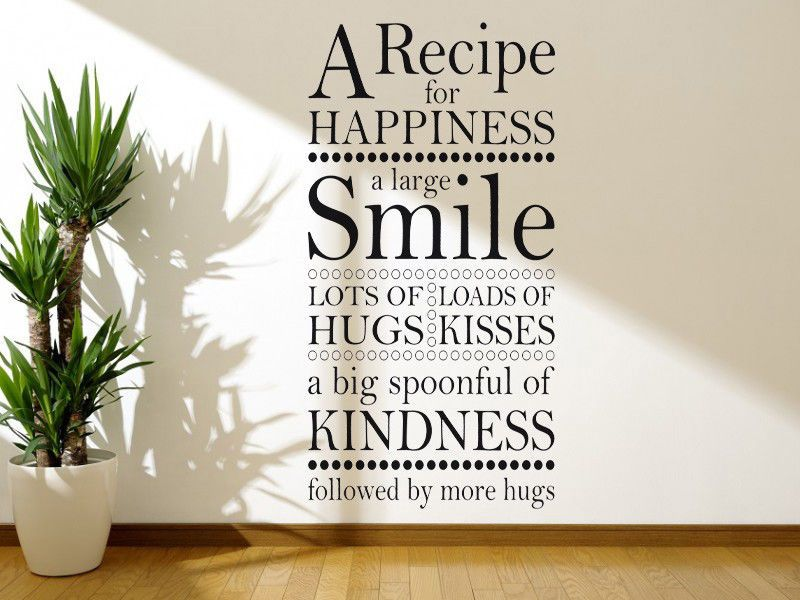 Wall Art Sticker A Recipe For Happiness Wall Quote Vinyl