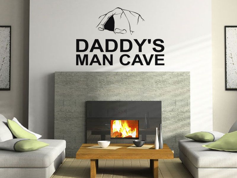 wall quote daddy s man cave wall sticker modern decal transfer.