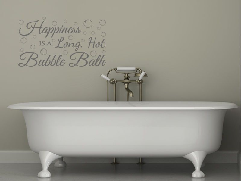 Bathroom Wall Quote Happiness is a long... Wall Art Sticker Vinyl ...