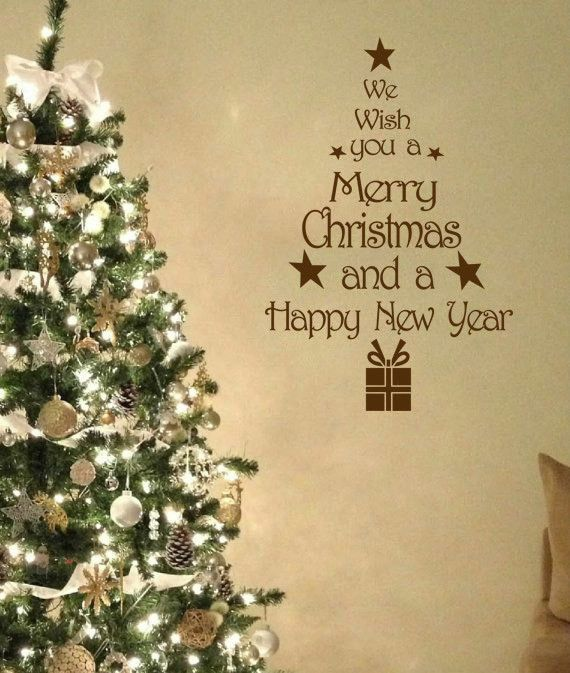 Christmas Tree Wall Art Quote Wall Sticker Modern Decal Transfer PVC.