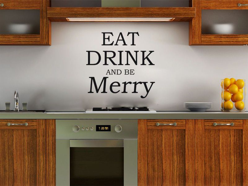 Eat Drink And Be Merry Wall Art Quote Sticker Decal Modern
