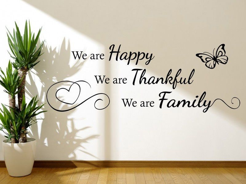 decor thankful happy wall quote decal modern pvc transfer