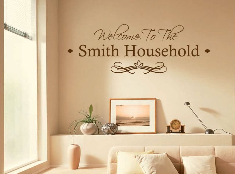 Transfer personalised family welcome to our home modern wall sticker decal transfer