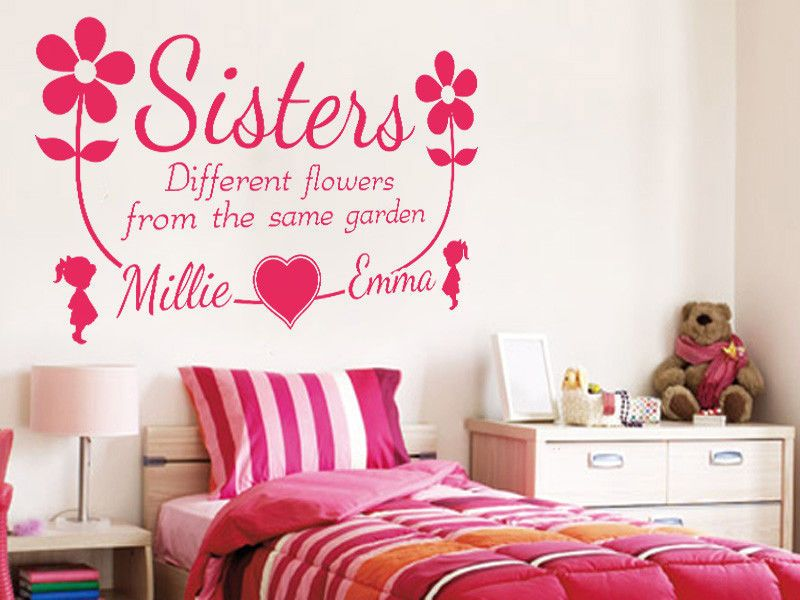 personalised sisters names wall sticker wall art decal pvc transfer