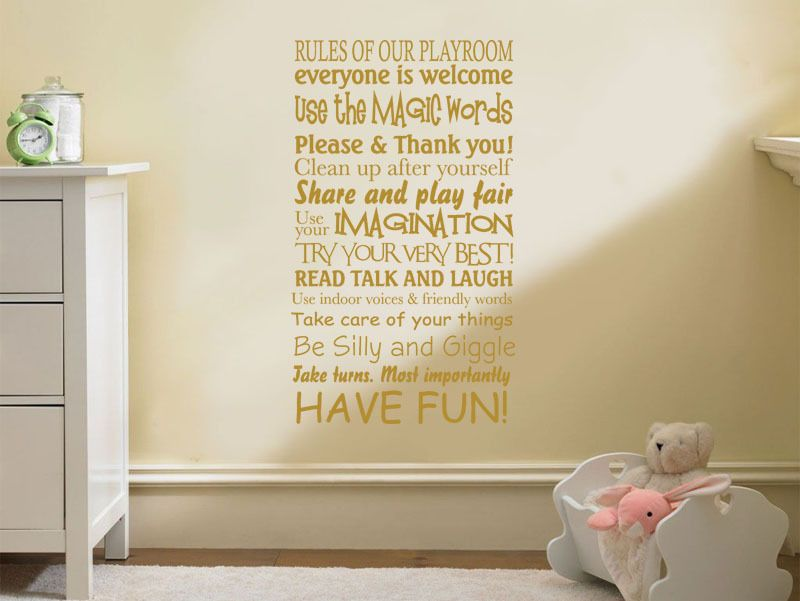 Playroom Wall Art Quote, Rules Of Our Playroom, Children, Nursery Wall  Transfer